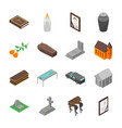 funeral signs 3d icons set isometric view vector image
