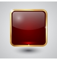 glass square button with round corners and golden vector image vector image