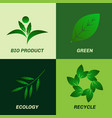 green leaf ecology icon set vector image vector image