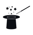 Hat and Magic Wand Icon vector image
