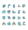 hygiene signs color thin line icon set vector image vector image