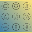 icons line style set with evening wear cowboy vector image vector image