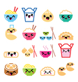 Kawaii Chinese take away food characters vector image vector image