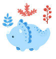 little dinosaur and plants vector image vector image