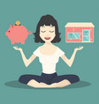 meditating concept with piggy bank and shop vector image vector image