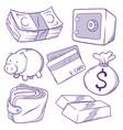 money icon doodle vector image vector image