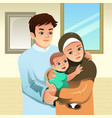 muslim family at home vector image vector image