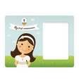 my first communion horizontal invitation on blue vector image vector image