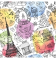 Paris winterchristmas seamless patternWatercolor vector image