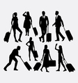 People male and female traveling silhouettes vector image vector image