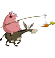 pig on a donkey vector image vector image