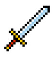 pixel video game sword icon cartoon retro game vector image