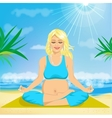 pregnant woman sitting in yoga pose vector image vector image
