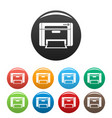 printer icons set color vector image vector image