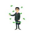 rich entrepreneur throwing money away vector image