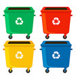 Rubbish containers in four colors vector image vector image
