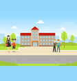 school building and front yard with cheerful vector image