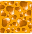 Seamless background with golden shining hearts vector image vector image