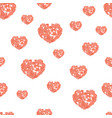 seamless pattern with hearts from watercolor blurs vector image