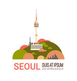 seoul tower cityscape south korea city view with vector image