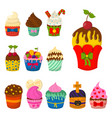 Set of cute cupcakes and muffins chocolate