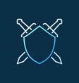 shield with crossed swords concept outline vector image vector image