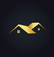 simple house icon gold logo vector image vector image