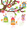 Spring Background with birds nests