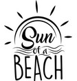 sun a beach on white background vector image