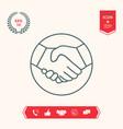 symbol of handshake in circle line icon vector image