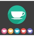 tea coffee cup flat icon sign vector image vector image