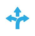 three-way direction arrow sign road sign vector image vector image