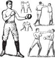 vintage boxing poses vector image vector image