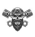 vintage severe biker skull in bandana vector image vector image