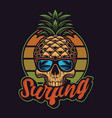 with pineapple skull in vintage style vector image