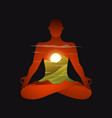 yoga man or woman silhouette in lotus pose in vector image