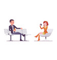 young man and woman sitting and relaxing vector image vector image
