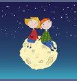 cute children on the moon vector image