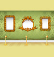 Wooden Photo Frame on Wall vector image