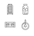 line icon set of accessories for bird in cage vector image