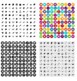 100 animals icons set variant vector image