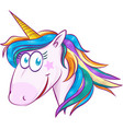 a cute cartoon mascot unicorn isolated on white vector image vector image