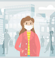 a girl in a protective medical mask protects vector image vector image