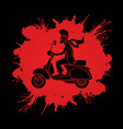 a man ridin classic scooter graphic vector image vector image