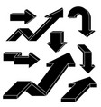 arrows black outline icons set vector image