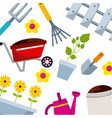 background with gardening equipment icons vector image