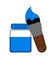 bottle of paint and brush icon vector image
