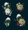 bouquets with dahlia and peony in vintage style vector image