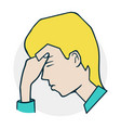 boy is upset and thoughtful vector image