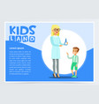 boy with rash visiting family doctor in clinic vector image vector image